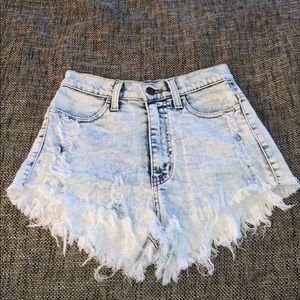 High Waisted Denim Shorts, Studded Jewel Design